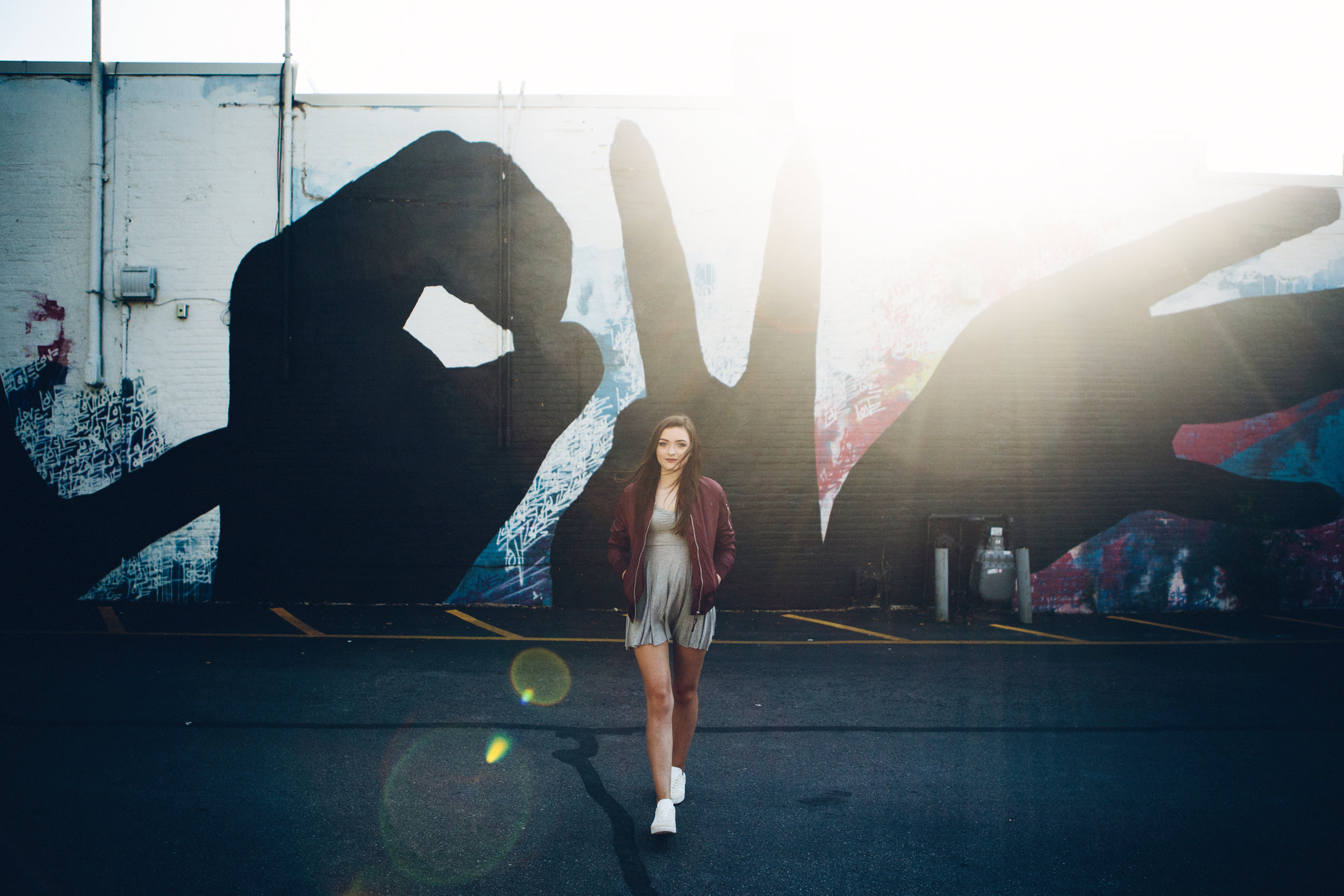 Madison, WI senior picture in front of the Love Wall.