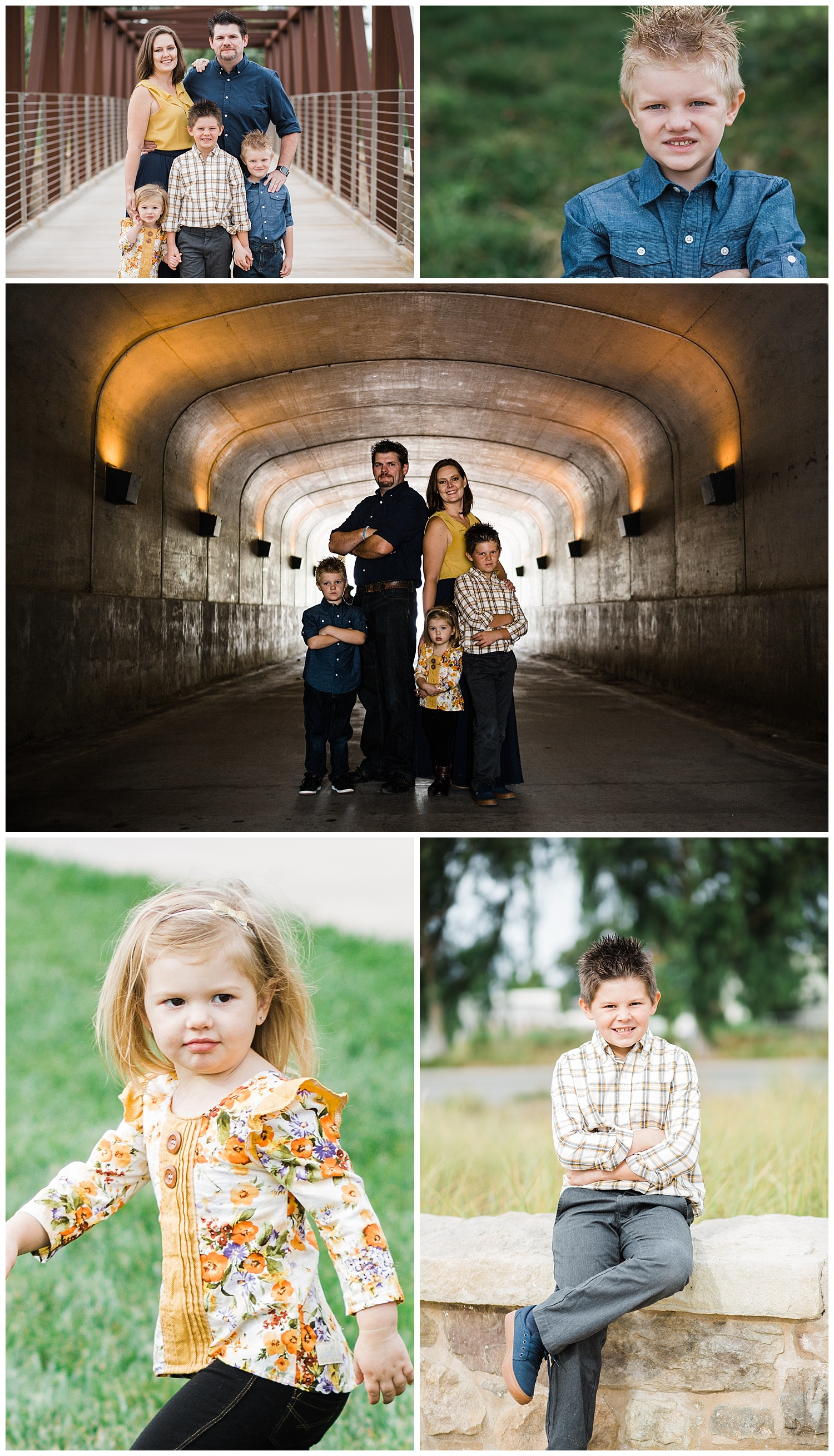 Kari Webb Photography | Brady Family Holiday Session | Irvine session on Bridge and in tunnel