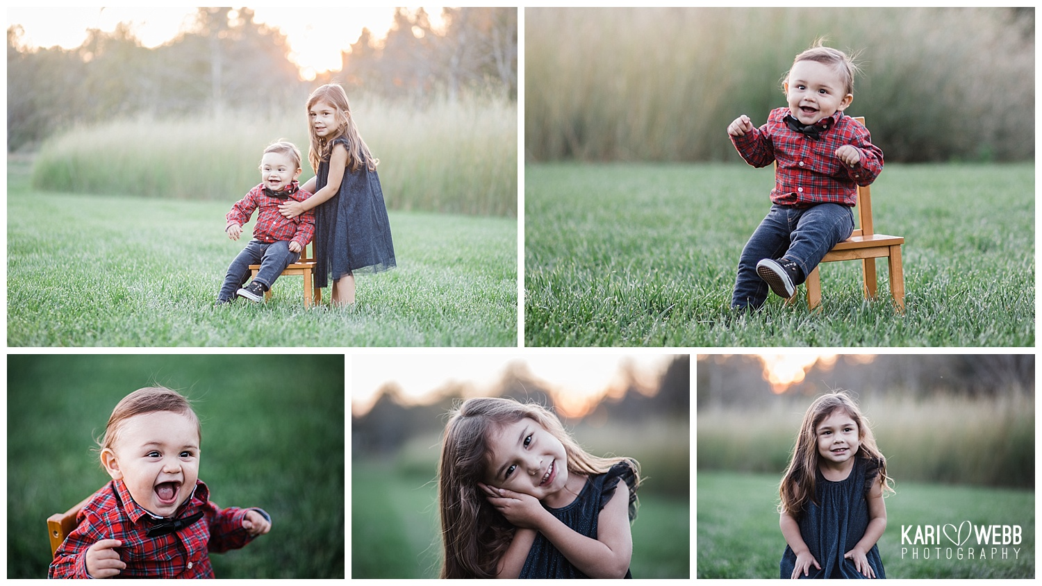 Orange Country Family Photographer _ Kari Webb Photography _ two children in grassy field at sunset