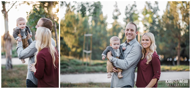 Kari Webb Photography_Irvine Family Photographer_ Family of three baby held up by dad.jpg