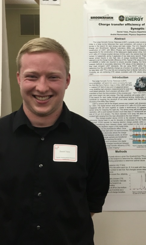 Daniel Yates    USA Masters Student Department of Physics and Astronomy   Daniel is working on studies of neutron-rich nuclei involved in the r-process, which is one naturally occurring synthesis that creates heavy elements between Iron and Uranium.