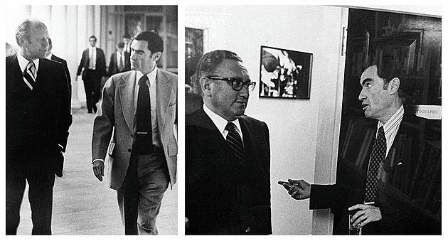 (Left) Jim Jordan with Gerald Ford, 1976.    (Right) Jim Jordan with Henry Kissinger, 1976.