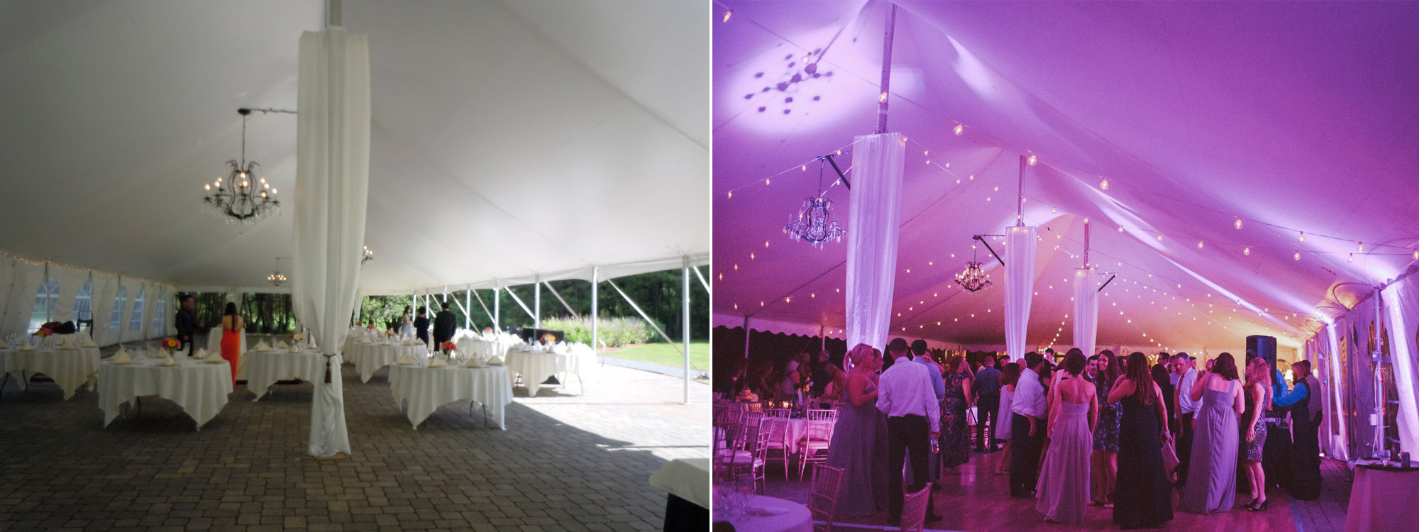 Before and after pink wireless uplighting was implemented at the Tent at The stevens estate at osgood hill