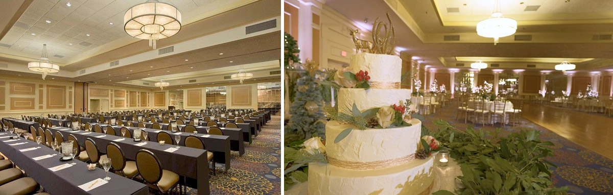 Before and after - gold uplighting at the doubletree hotel in danvers, ma