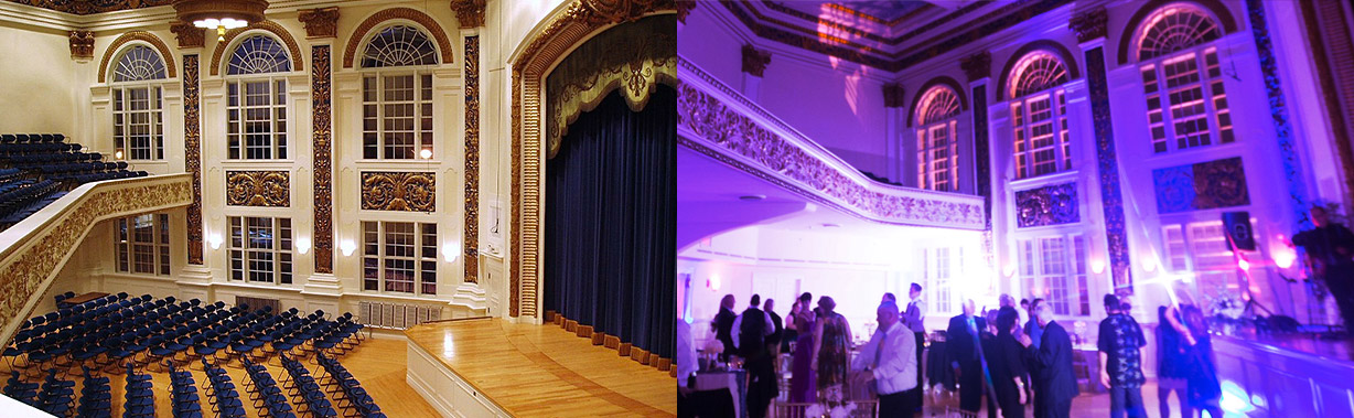 Before and after pink wireless uplighting was implemented at the tuckerman hall in worcester, ma