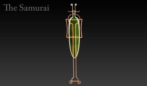 Copper, aluminum, and green art glass.