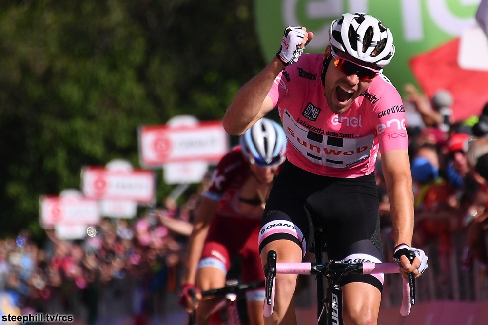 Dumoulin wins Stage 14 in the Maglia Rosa.  Photo: steephill.tv/rcs