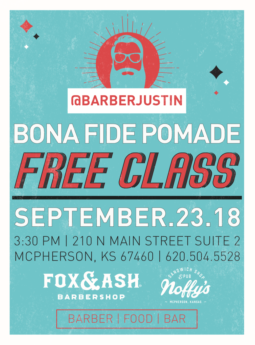 @barberjustin&@bonafidepomadeare coming to FOX & ASH // come learn, grub, and drink with us September 23rd. This event is open to the public- fellow students, barbers, and cosmetologists bring a friend or three! @jamescutshair will also be teaching a class on fading and braiding. - free bona fide class