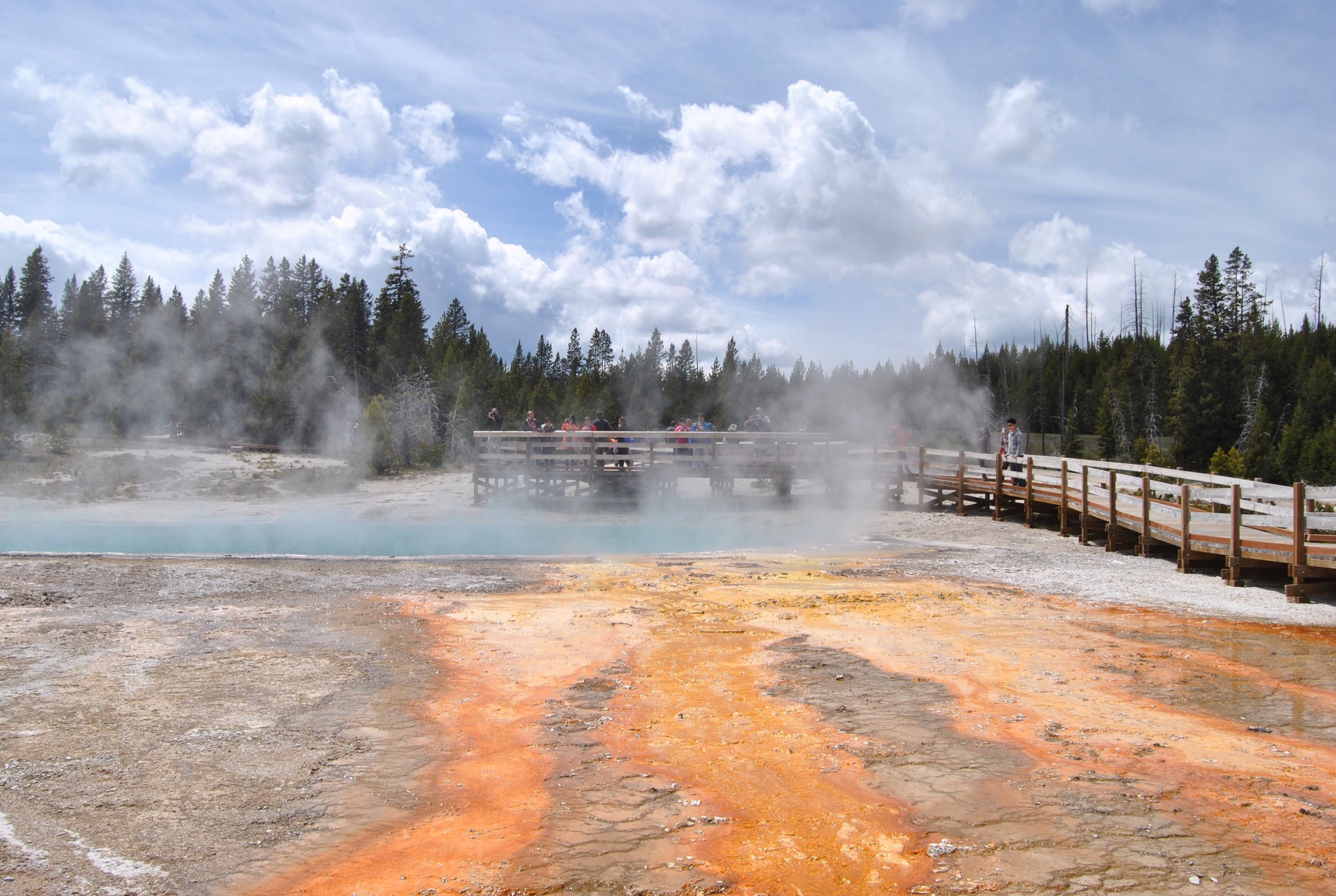 Our next stop was at West Thumb geyser basin. It's one of the smallest, but rather scenically overlooks Yellowstone Lake.