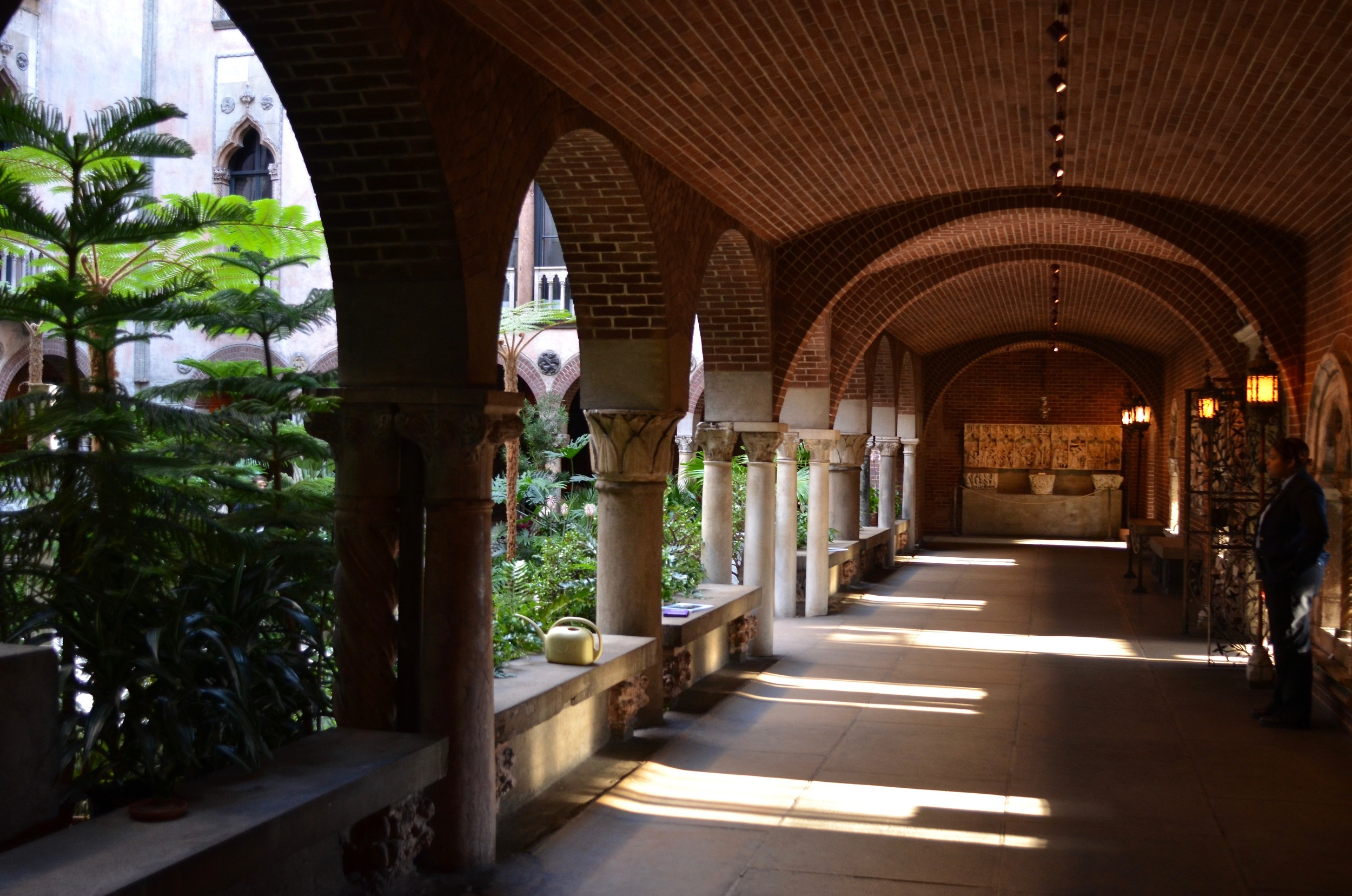 Carrasquillo tells me this is one of her favourite parts of the museum: the contrast between the dark, cool brick hall that rings the main garden, and the vivid, airy, warm garden.