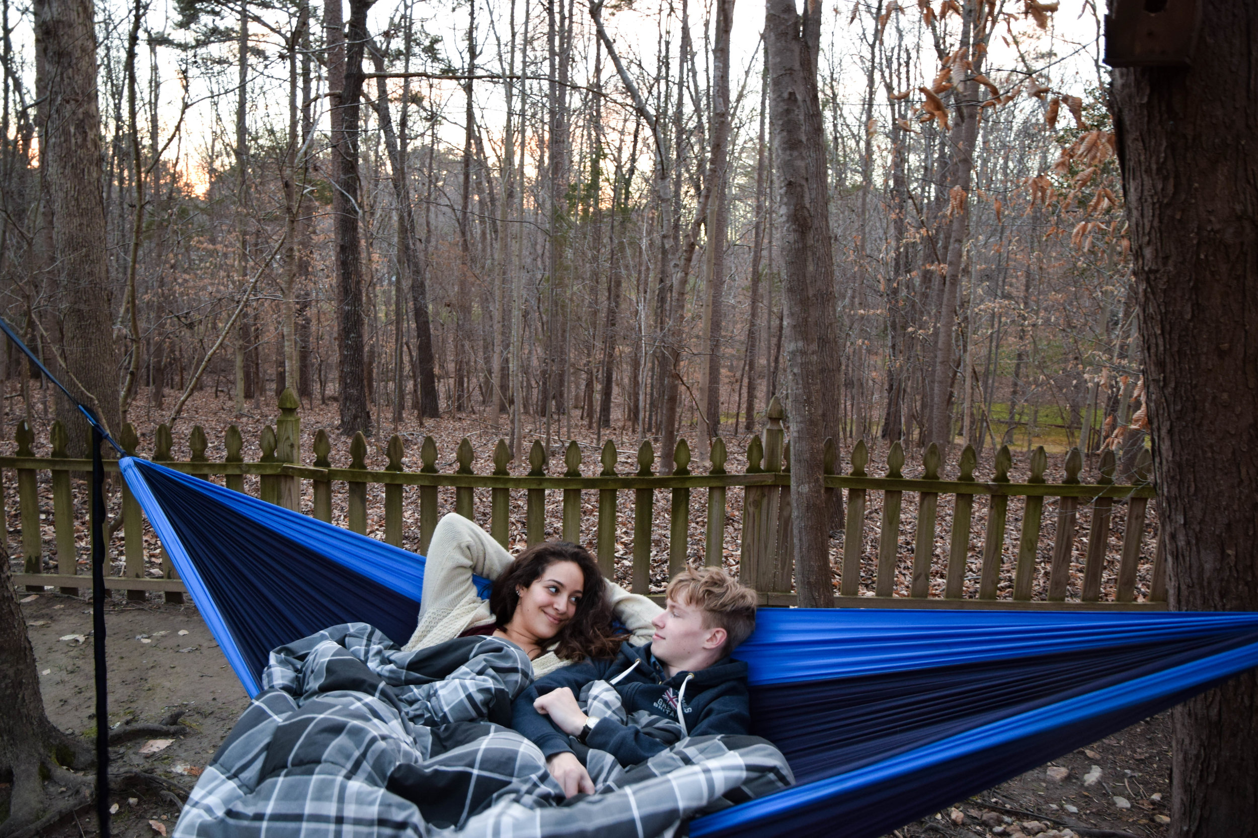 """Driving them around, Beau and I quickly became Mum and Dad. """"The kids"""" had strung a hammock between two trees at the bottom of the garden. Easier to enjoy the great outdoors when it isn't trying to freeze your face constantly."""