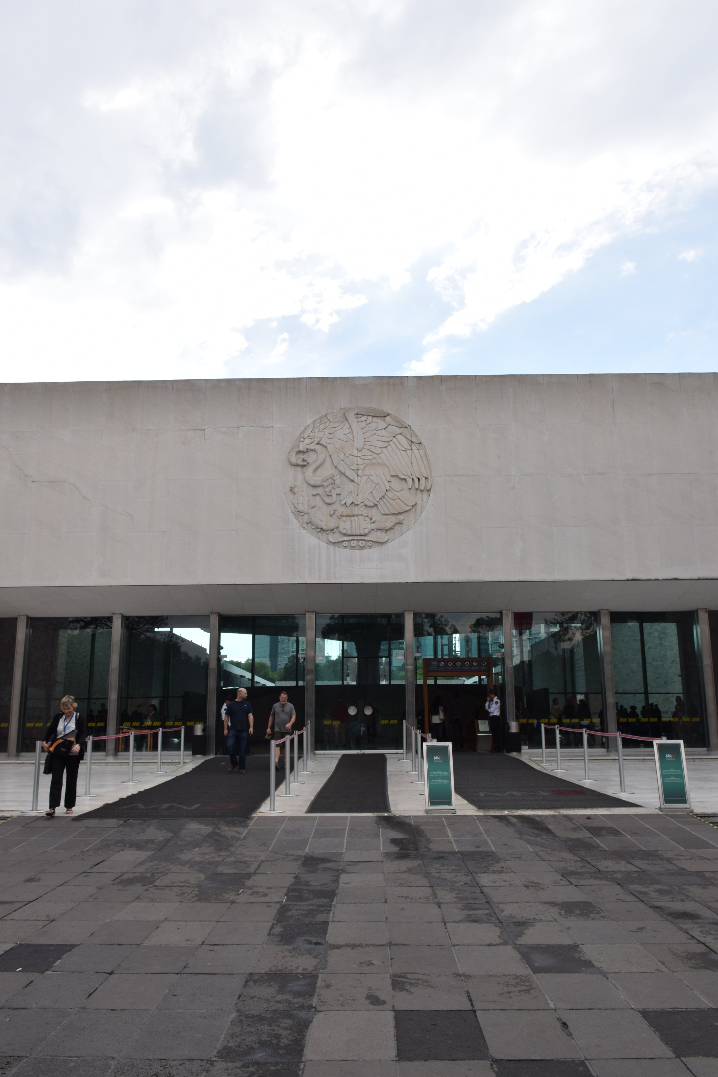 From the outside looking in: the museum's entrance with the seal above the doors
