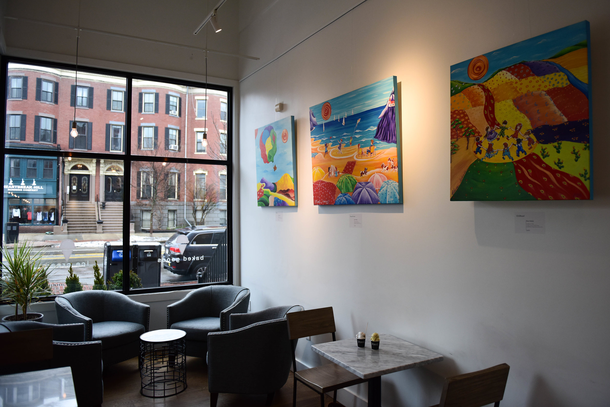 """The artwork in each FoMu is different, by an artist local to that neighborhood. The South End store, Jalal says, """"used to be a gallery. We wanted to pay tribute to that and that art is a very important part of the South End as a community."""""""