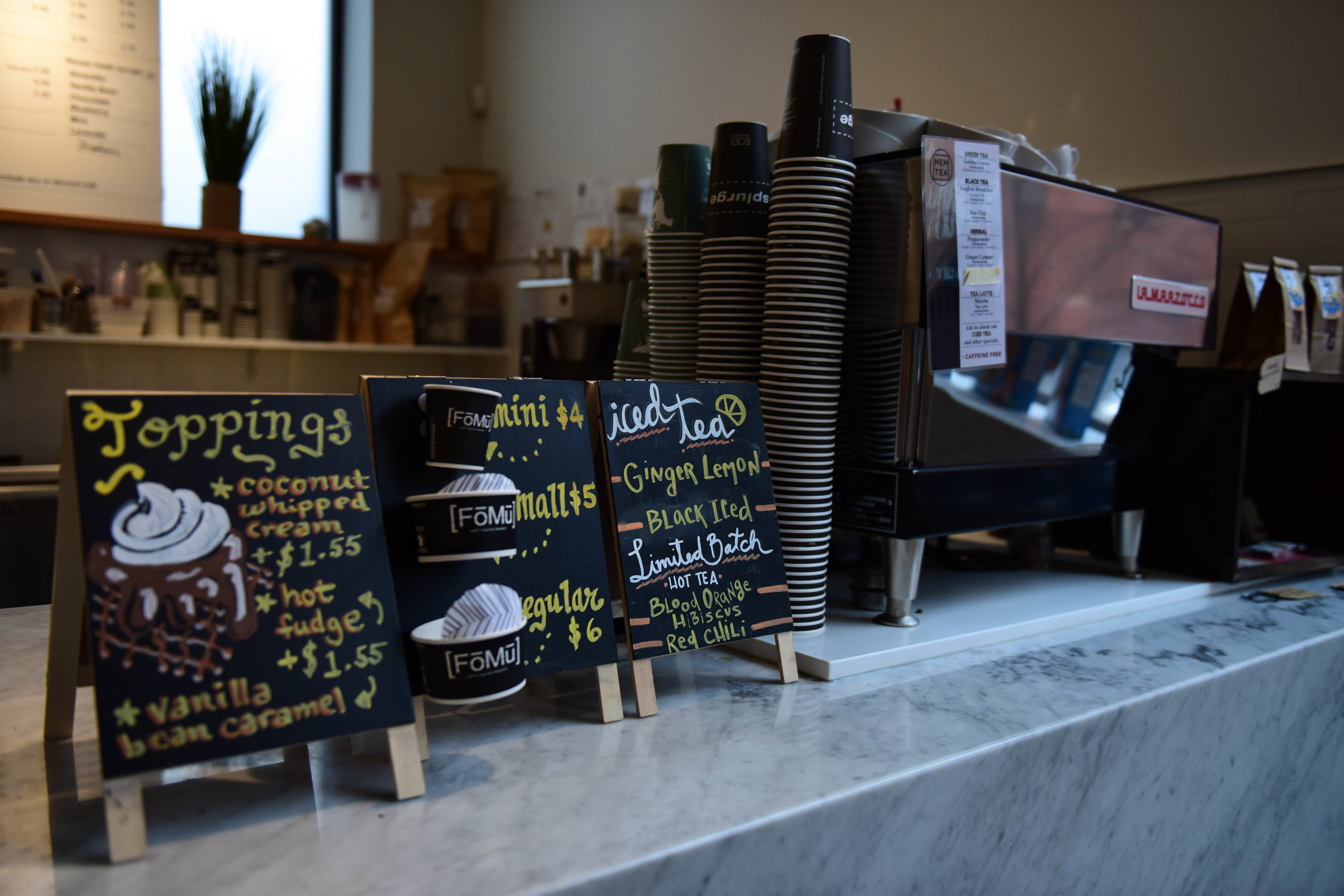 """Customers can also buy teas and coffees at FoMu's cafes, from other local businesses MEM Tea and George Howell Coffee. """"You want to see your community succeed and these thoughtful purveyors do well,"""" Jalal says. """"It's a great collaboration."""""""