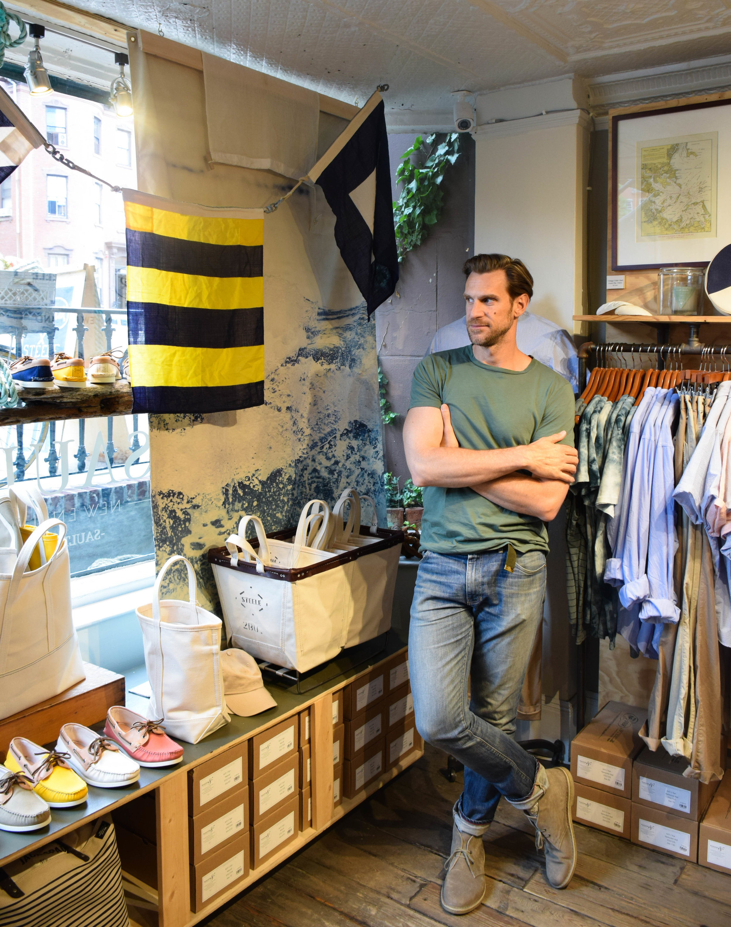 """""""We're not a super fashion forward town,"""" Saul says. """"We definitely have some fashionable people, but I don't feel like we as New Englanders are trying to out-cool everybody else."""" Saul's clothing may not be particularly flashy, but he specializes in making people feel good about what they're wearing, ensuring they leave with not just a new outfit, but confidence too."""