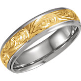 Two-Tone Hand Engraved Mens Wedding Band