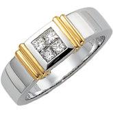 Invisible Set Diamond duo Men's ring