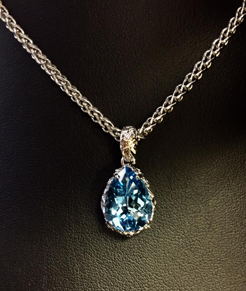 8.50 Carat London Blue Topaz, set in Sterling Silver with 14kt. Gold Accent.jpg