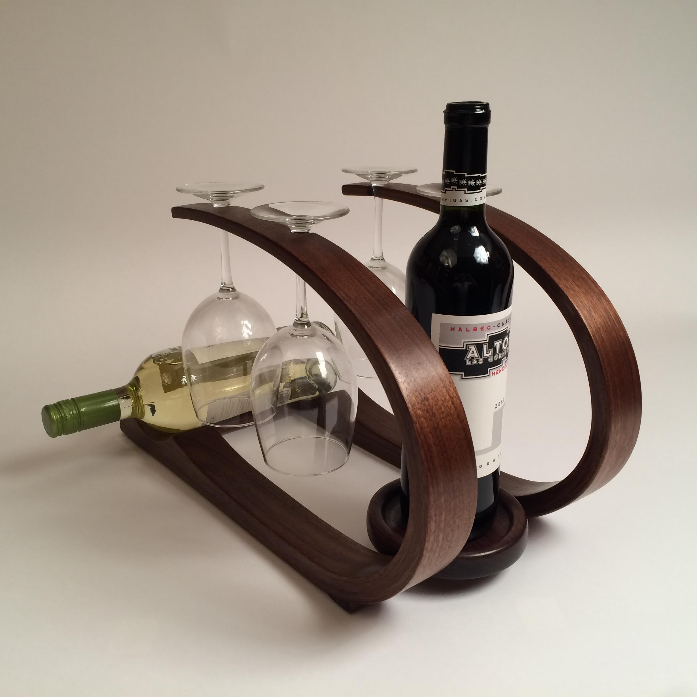 Walnut Wine Rack front view