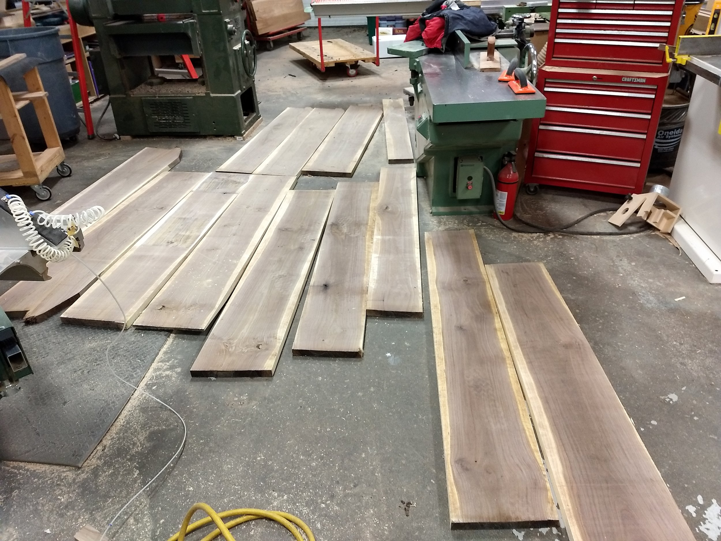 Finished planks laid out on the floor