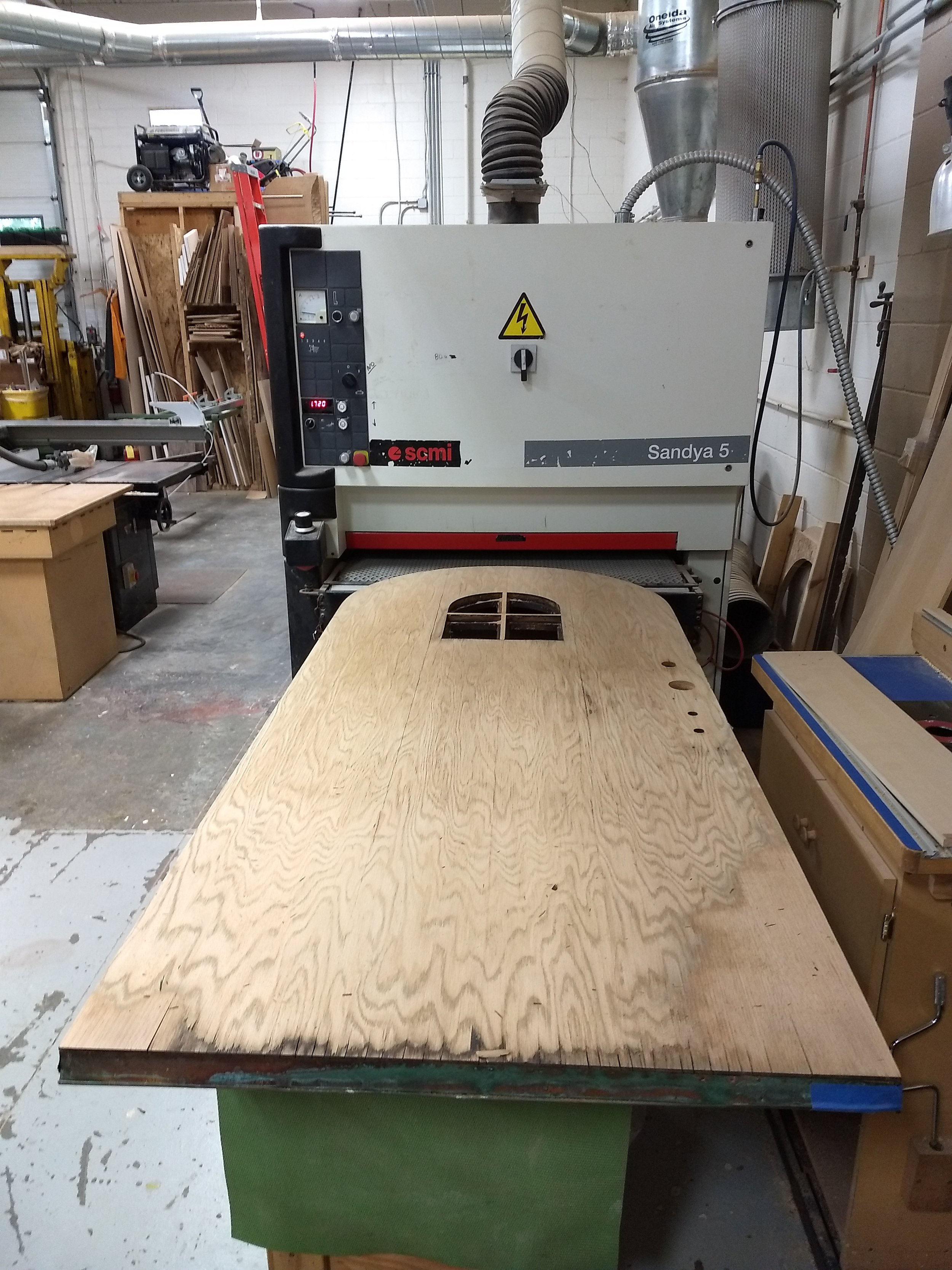 Sanding off the outer ply
