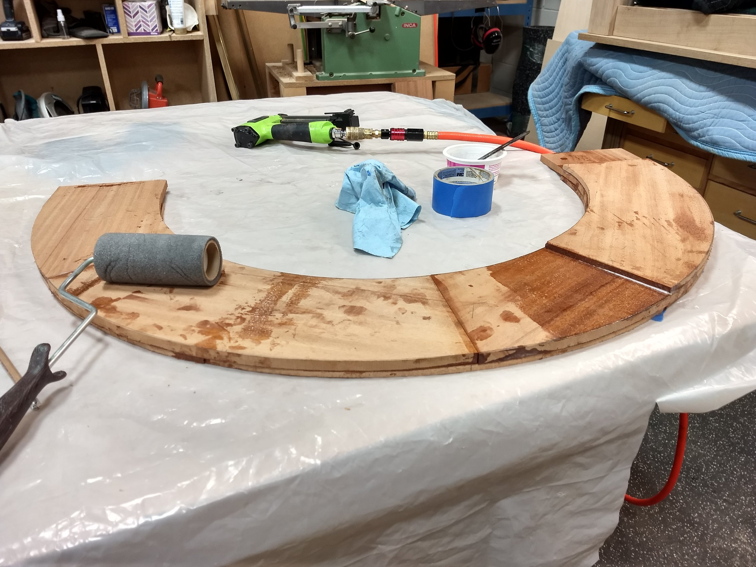 Gluing and assembling the arch plies