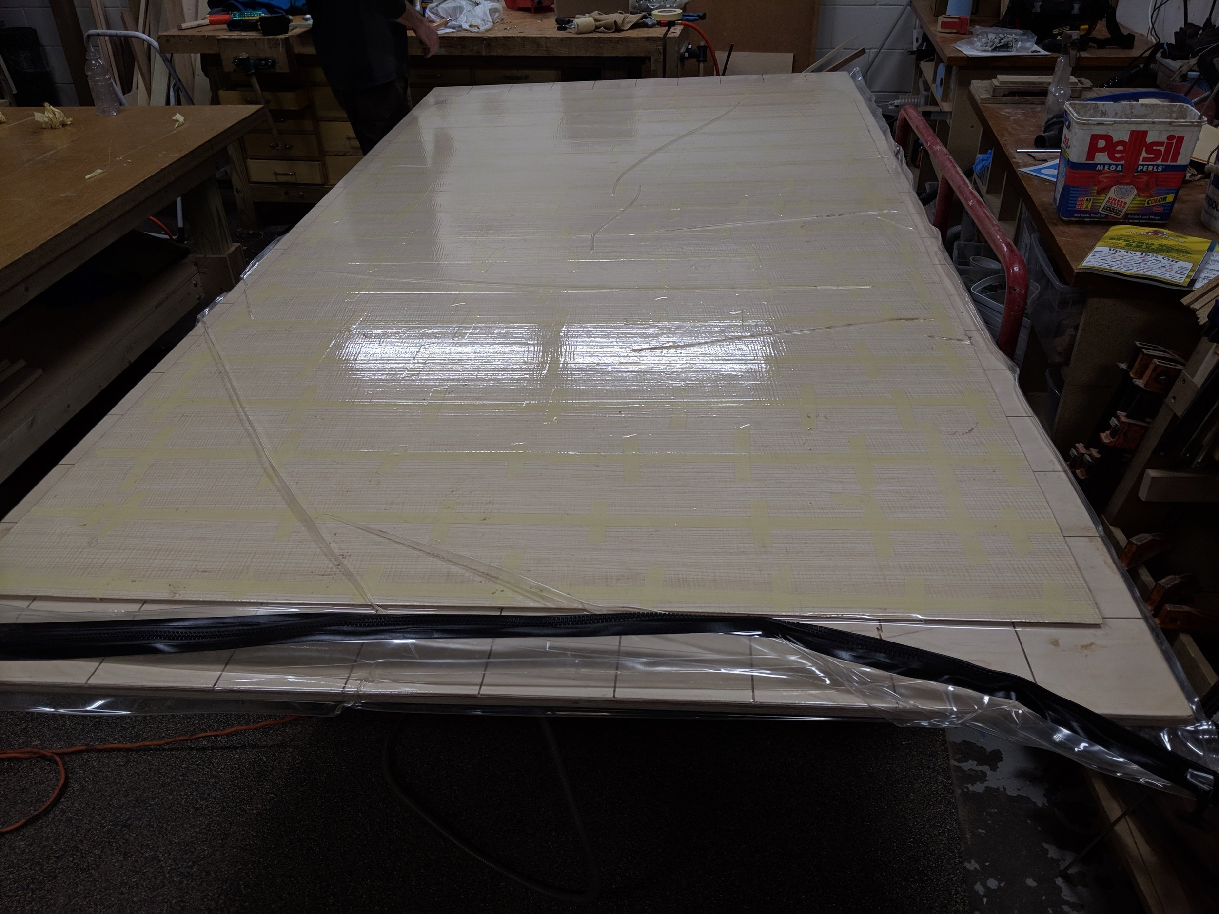 Finished panel in vacuum press