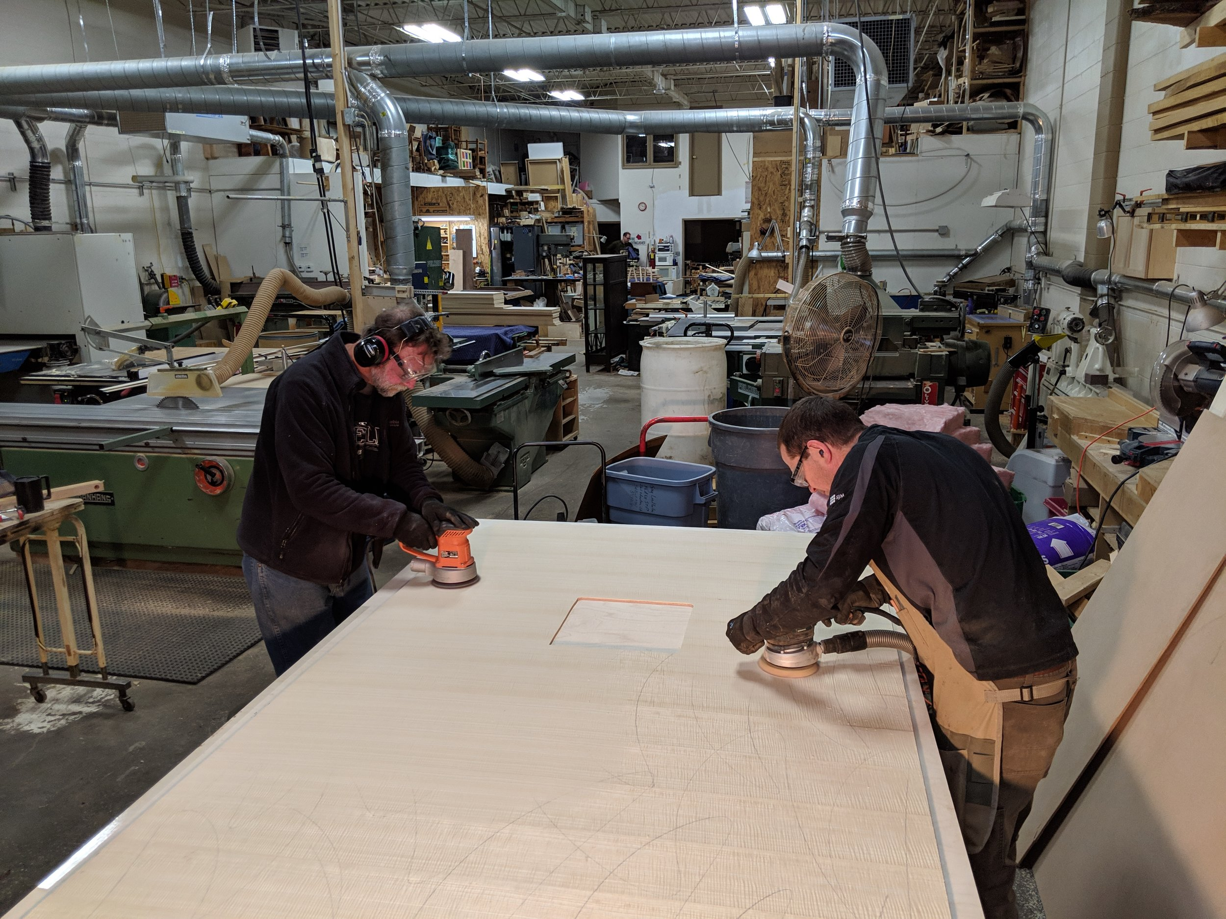 Sanding the panels