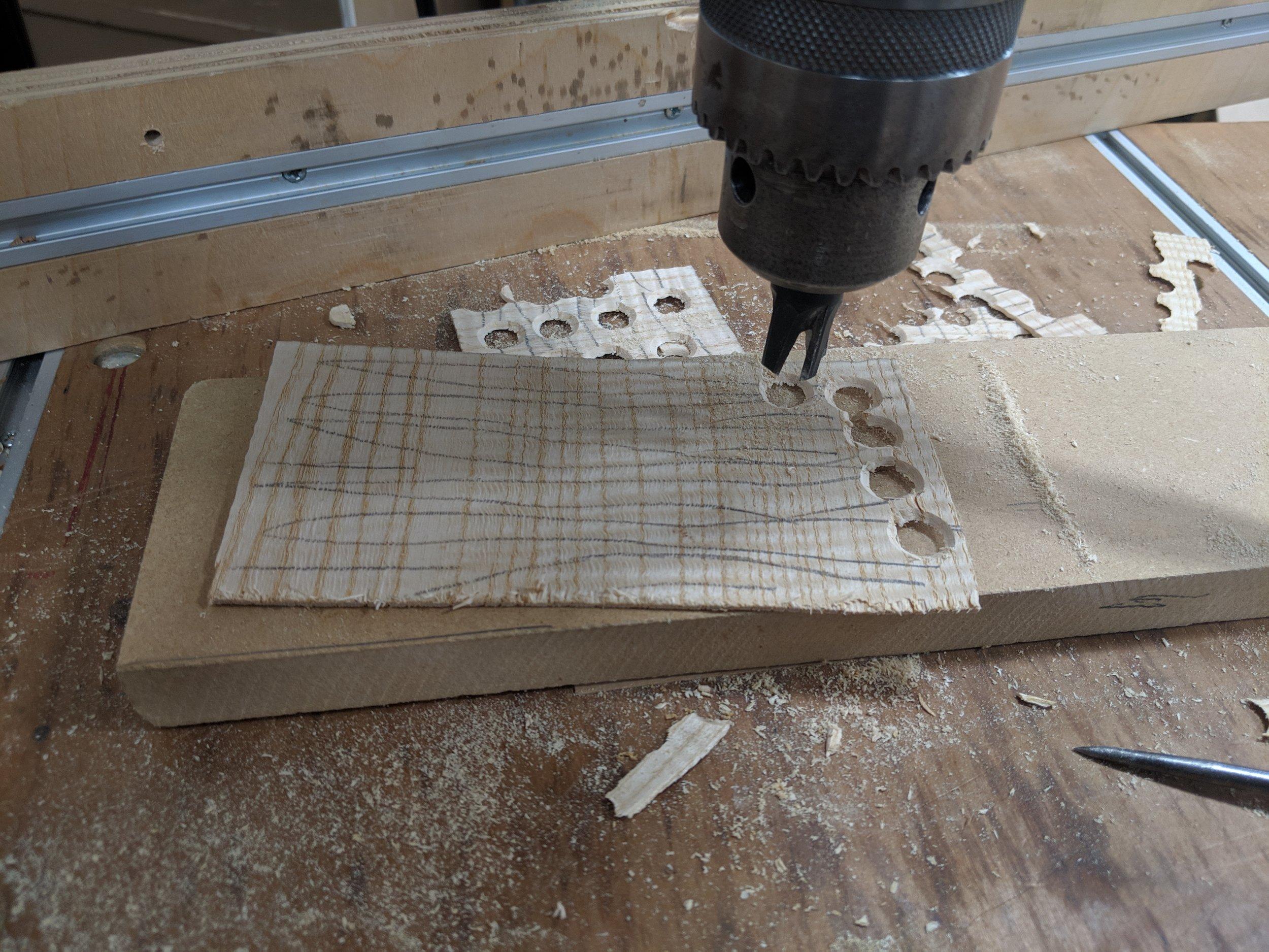Cutting bung hole plugs