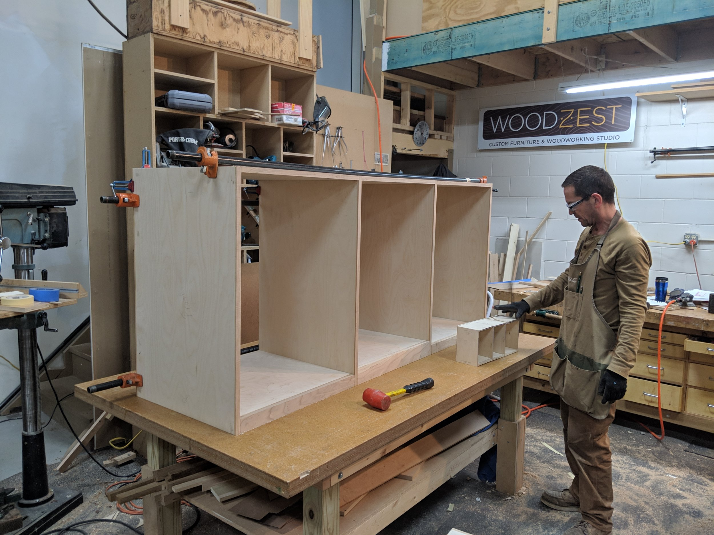 Driver side cabinet dry assembled