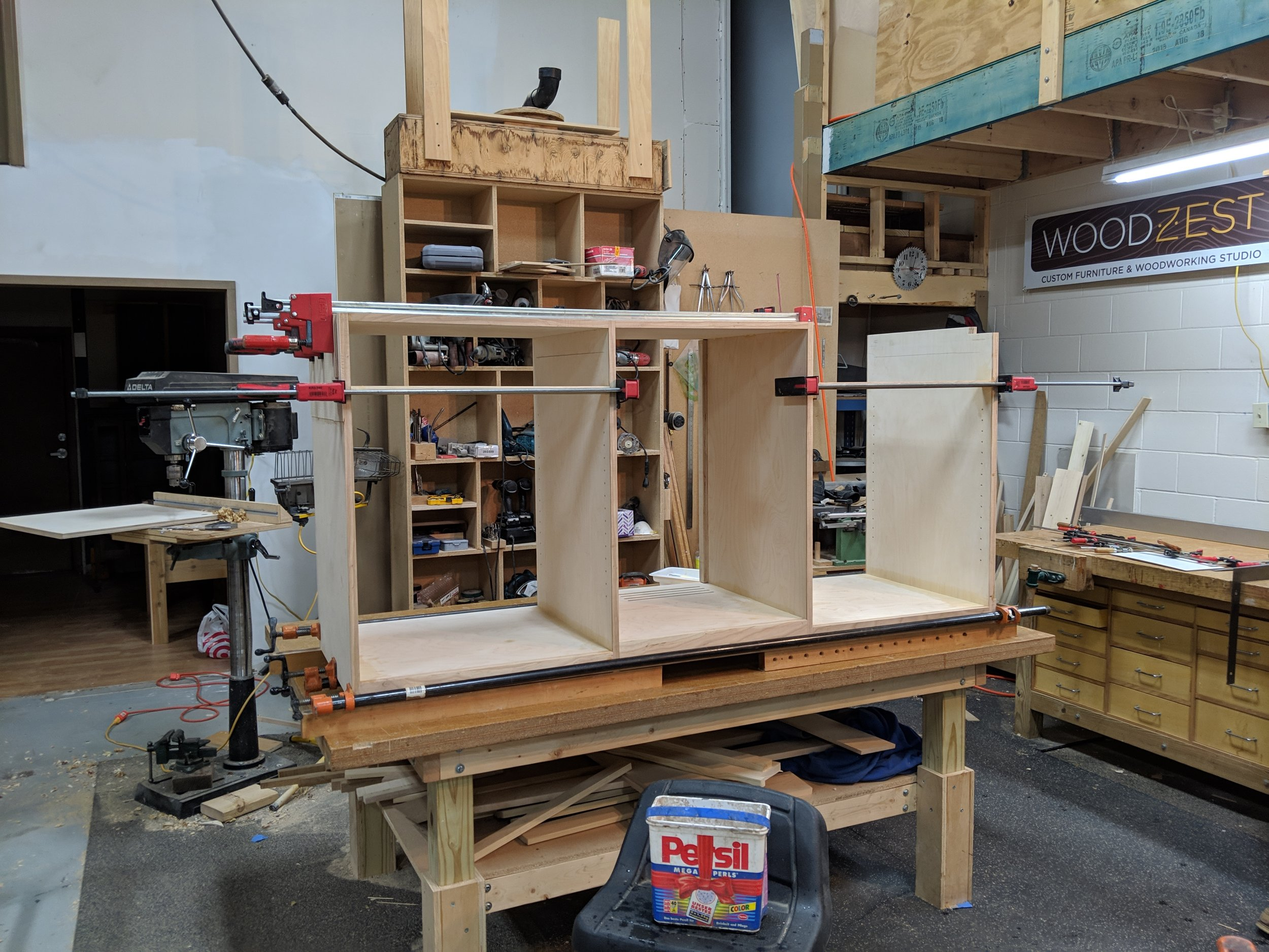 Driver cabinet glued and clamped