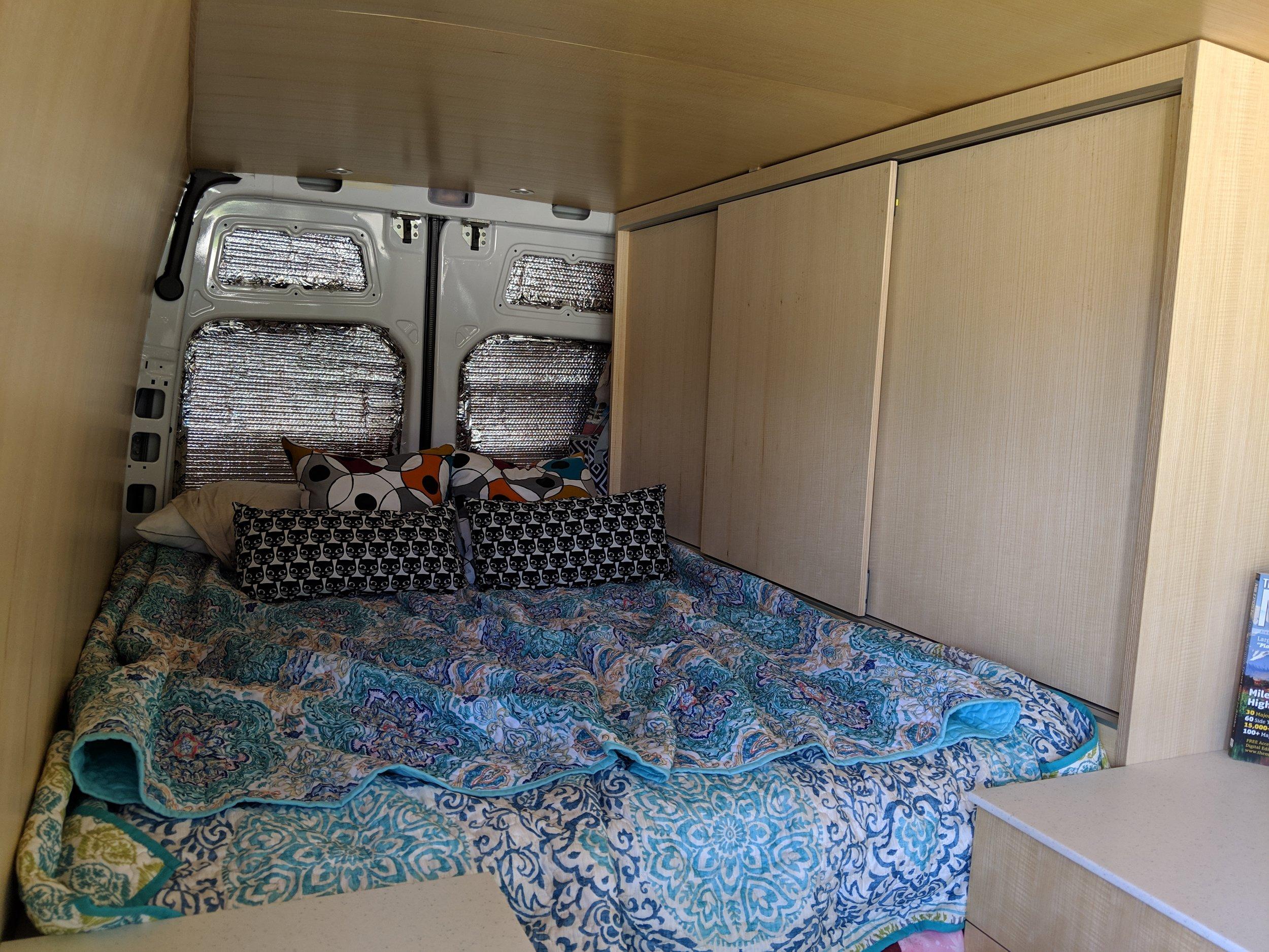Sliding door bed cabinets
