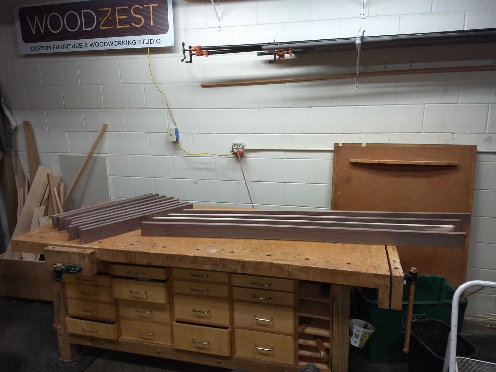 Rough cut pieces relaxing on the bench