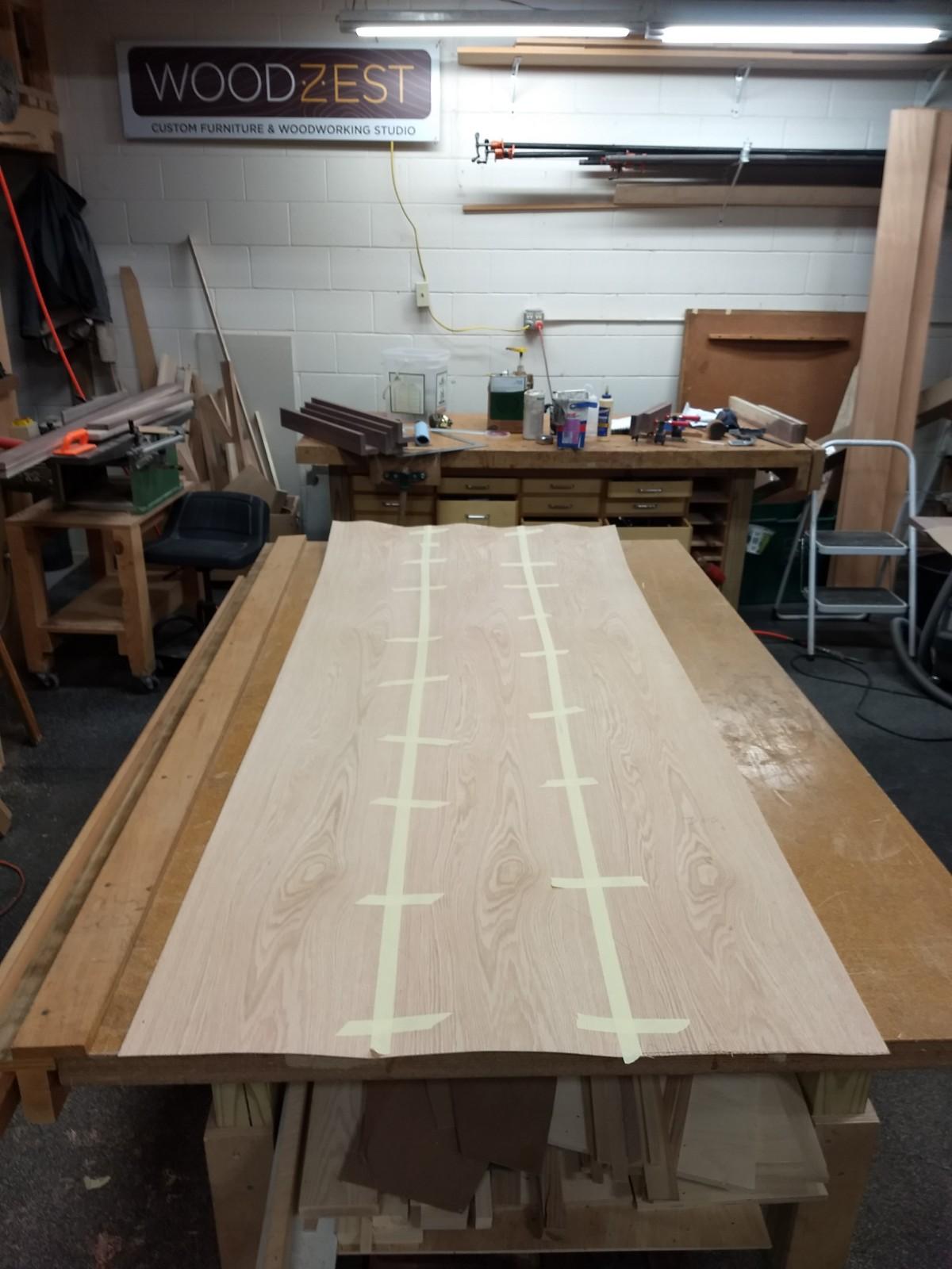 Taped together veneer