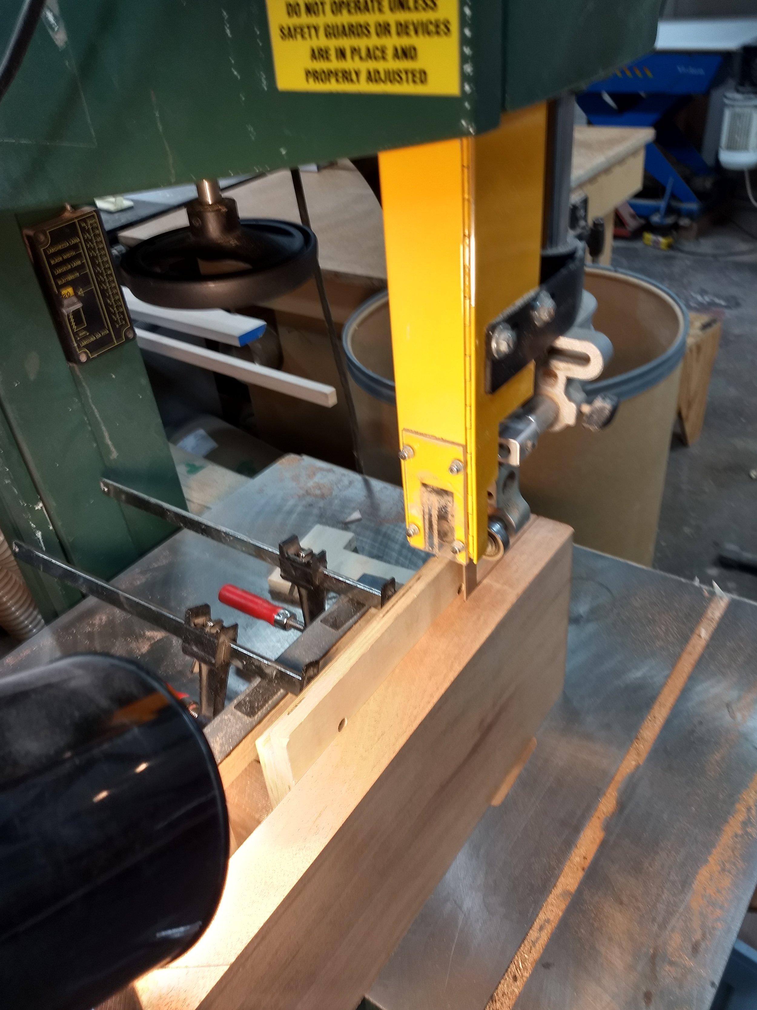 Resawing mahogany board into plies
