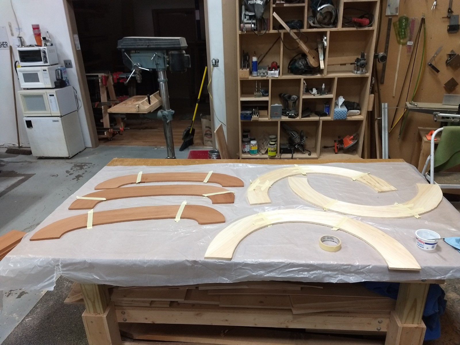 End glued ply layers