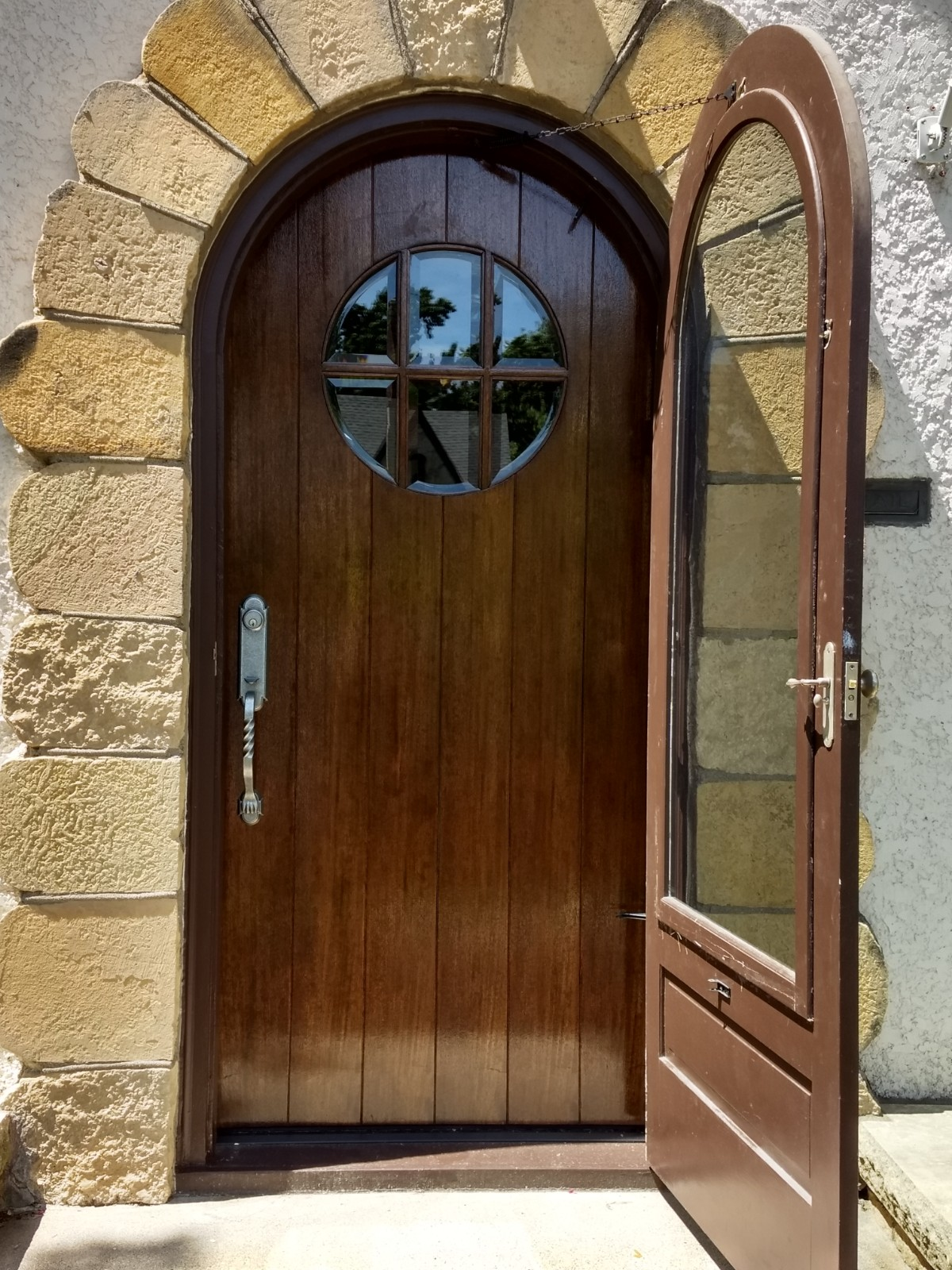 After reclad - Stained mahogany