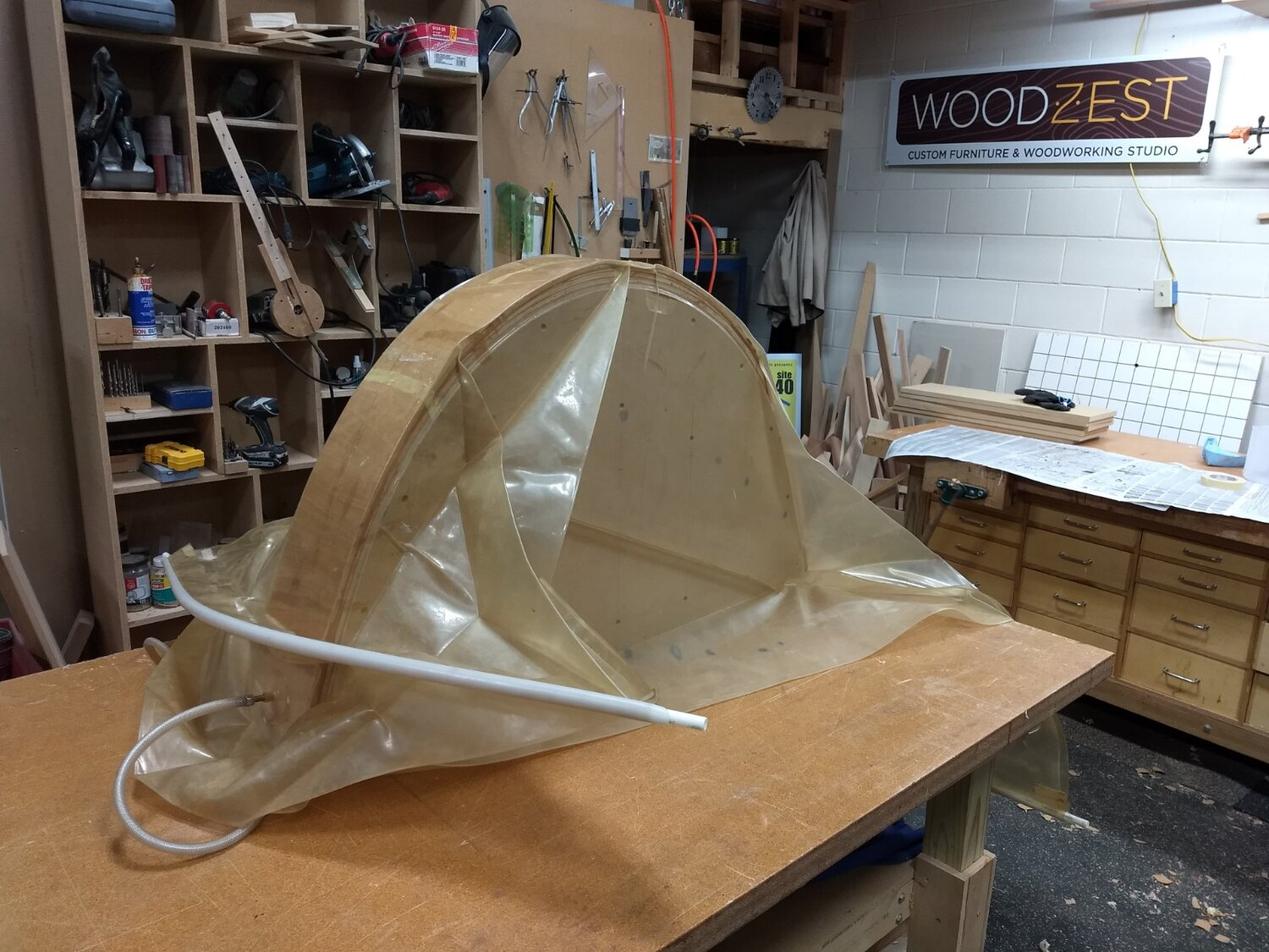 Glued up arch in vacuum bag
