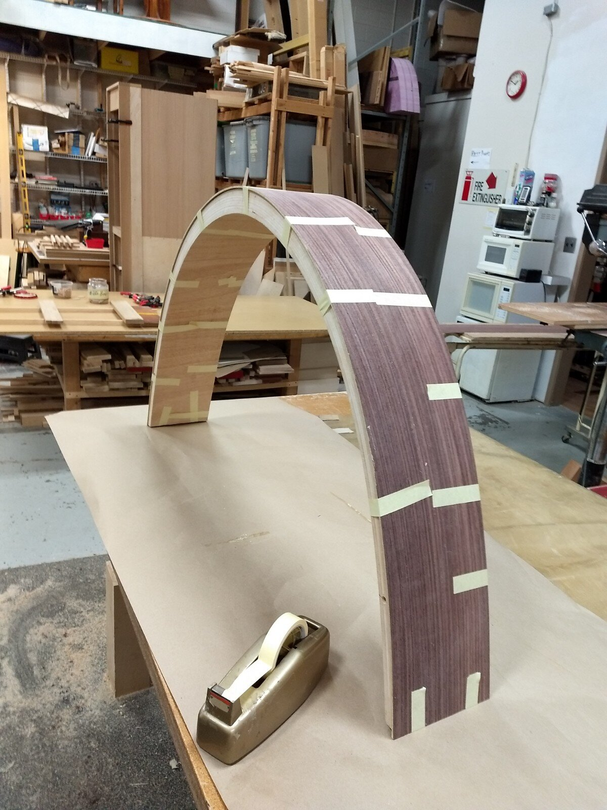 Veneered MDF  being applied arch face
