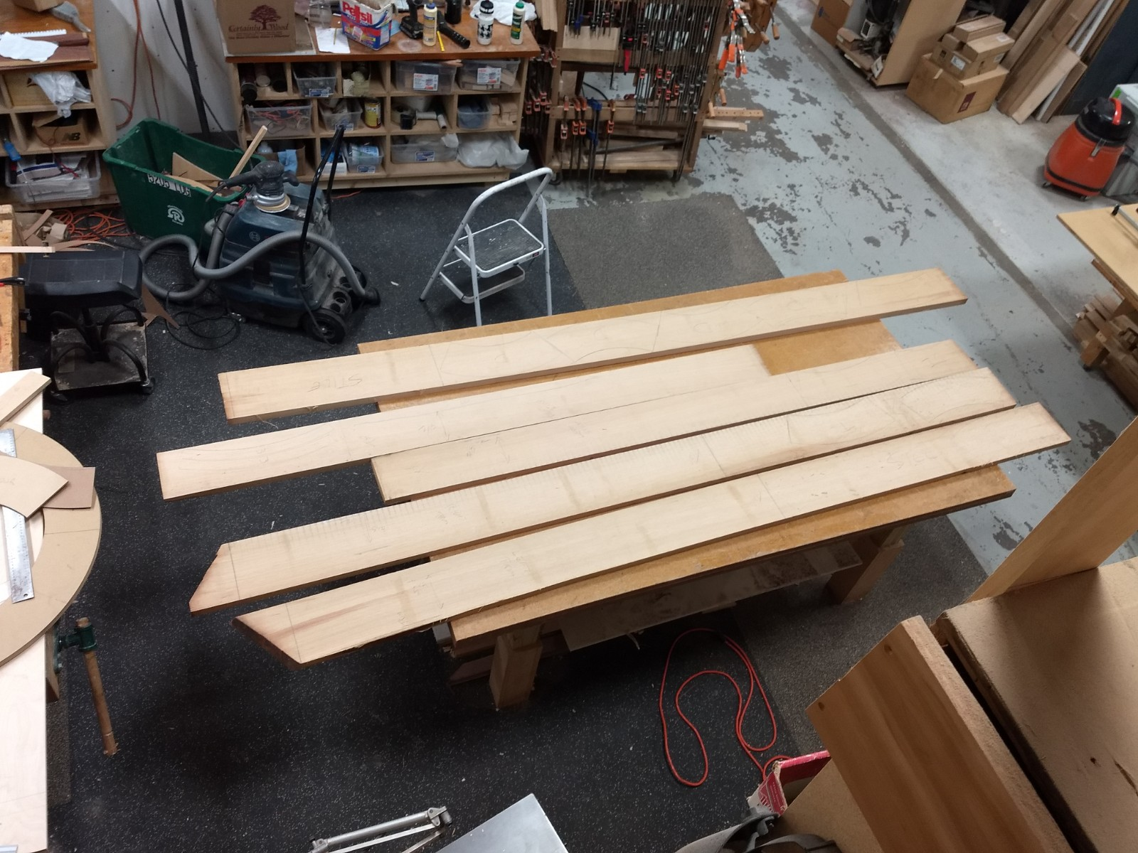 Pieces layed out on boards