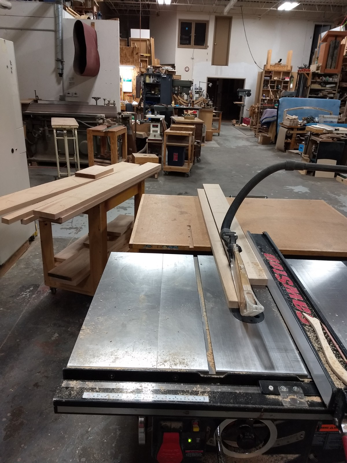 Ripping to width on table saw
