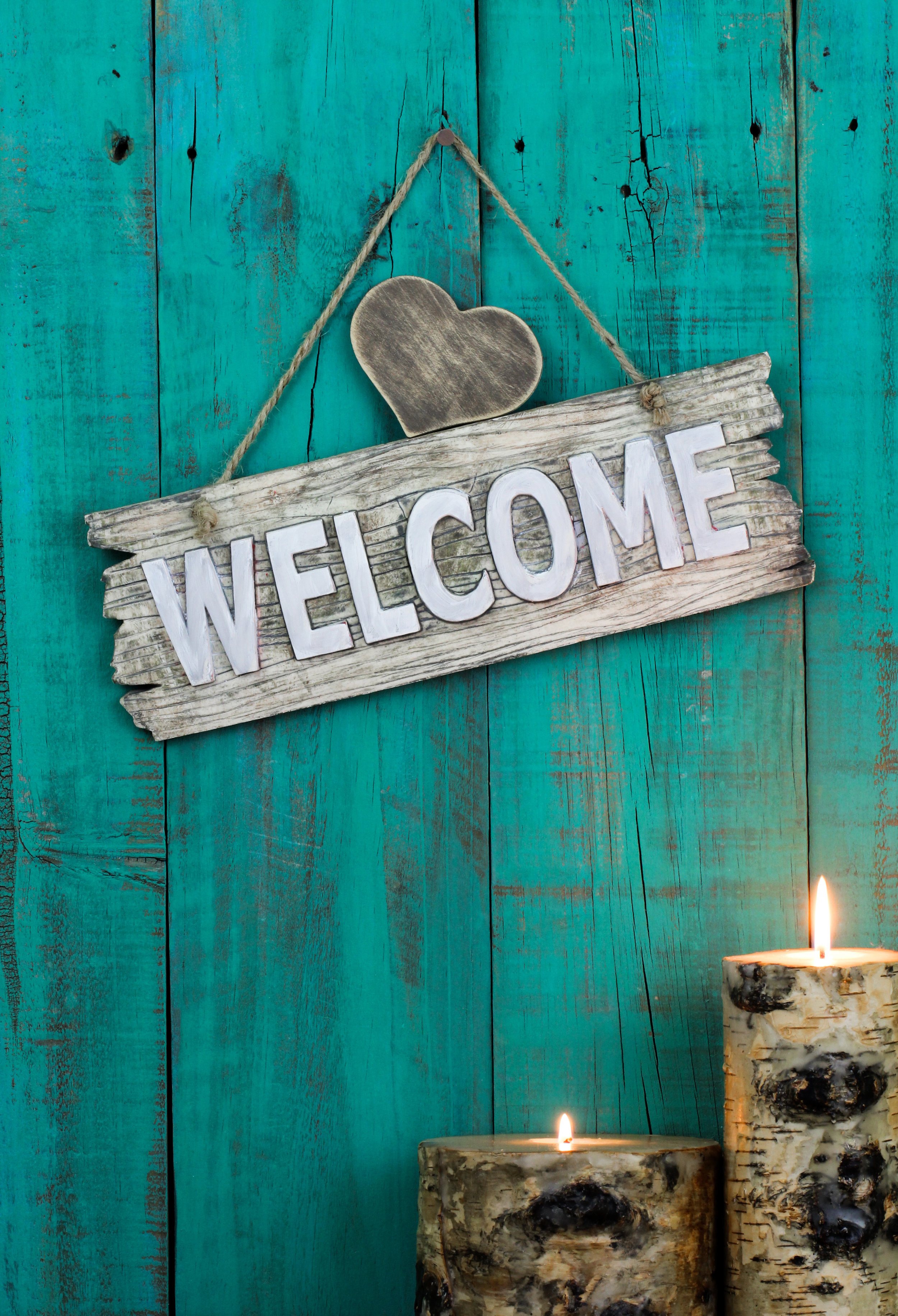 Welcome sign with heart and candles.jpg