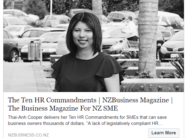 NZBusiness magazine featured our top 10 HR tips for SME's