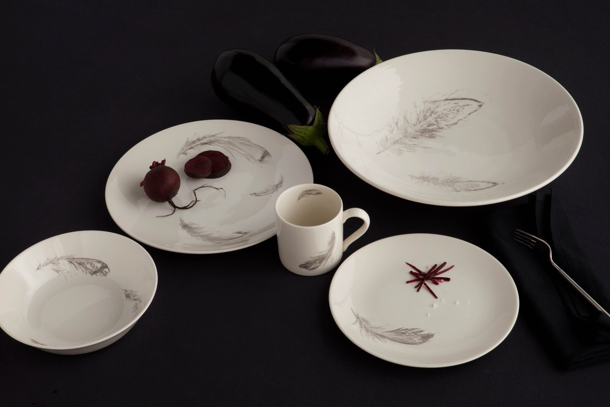Abby Joy Designs PLUMES for 1882 Ltd., fine creamware earthenware tableware collection of bowls, plates & mug with feather motif, made in the Stoke on Trent Potteries, inspired by Somerset.
