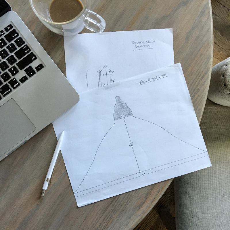 Sketching out the initial shape of the shade at the dining room table in Nebraska.