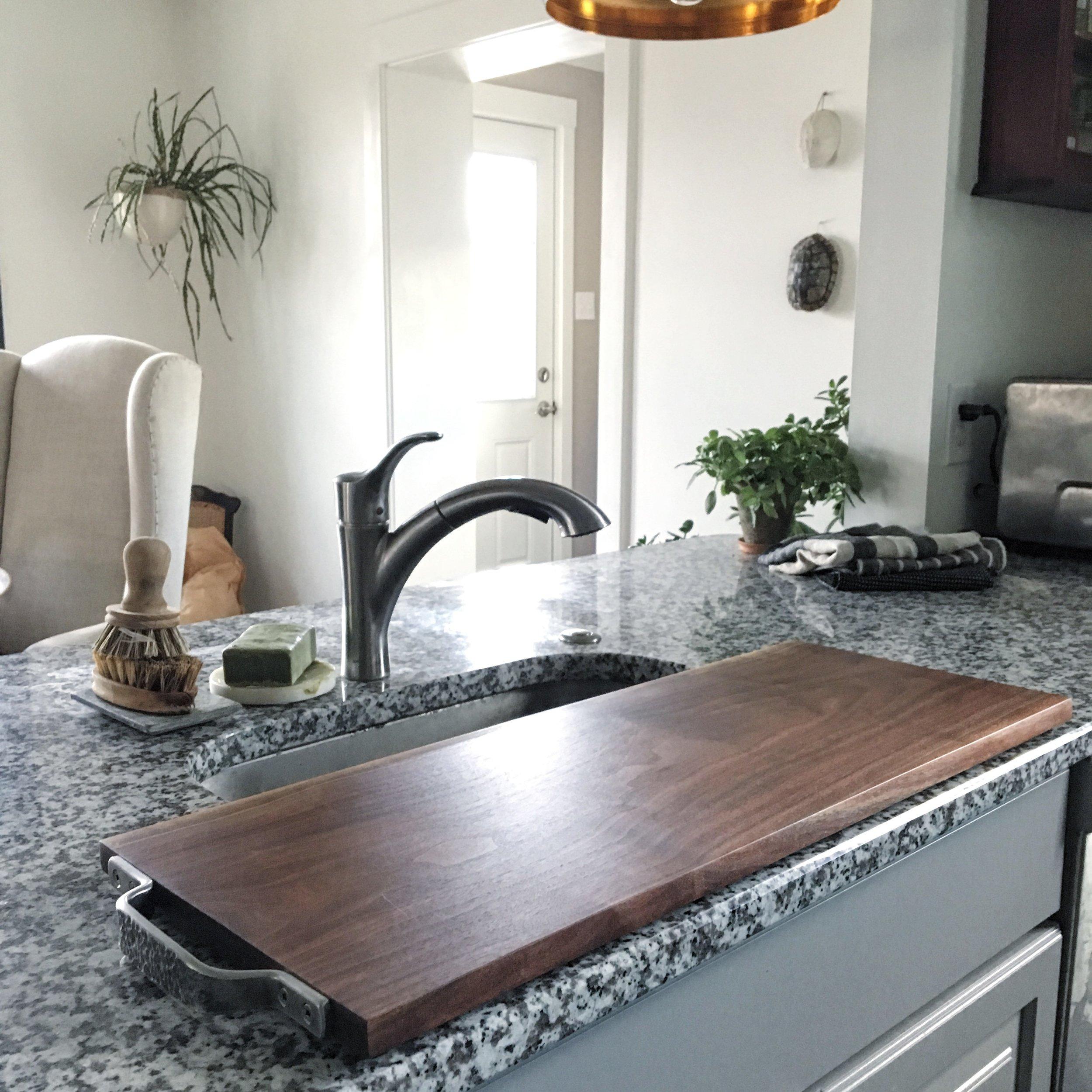 Over sink walnut cutting board