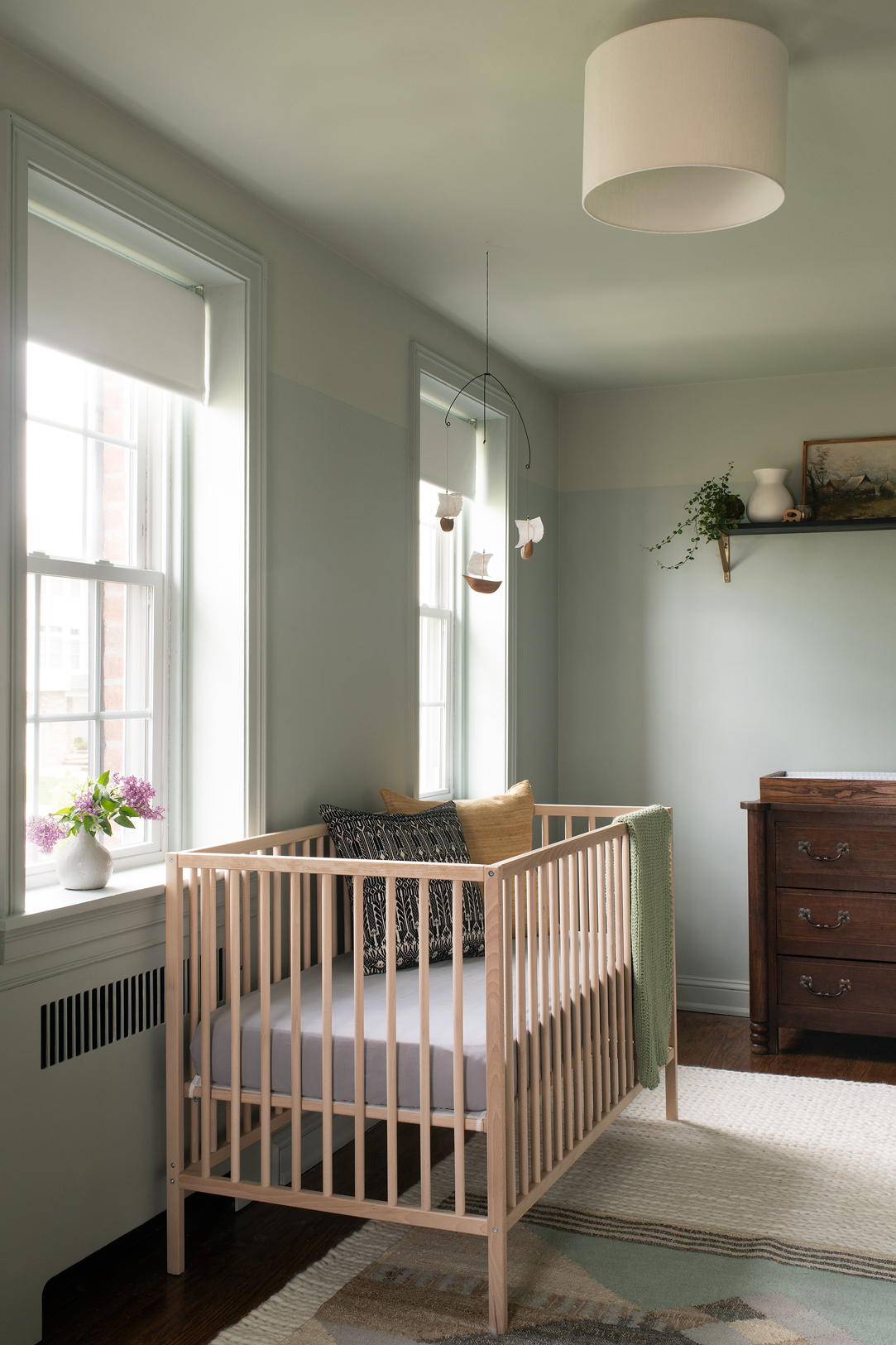 Sources:  crib ,  ceiling light