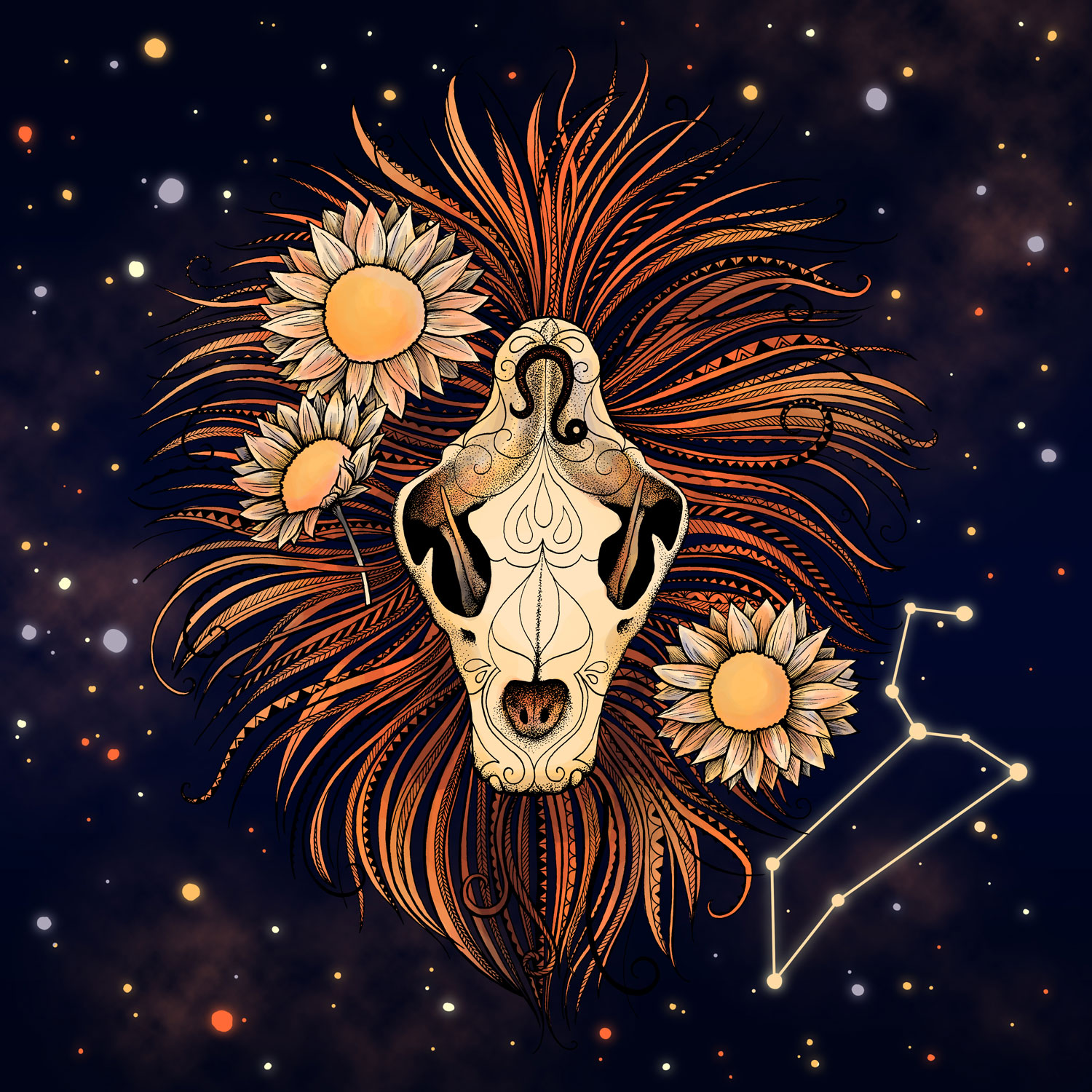 Leo  Lion Skull and Sunflowers
