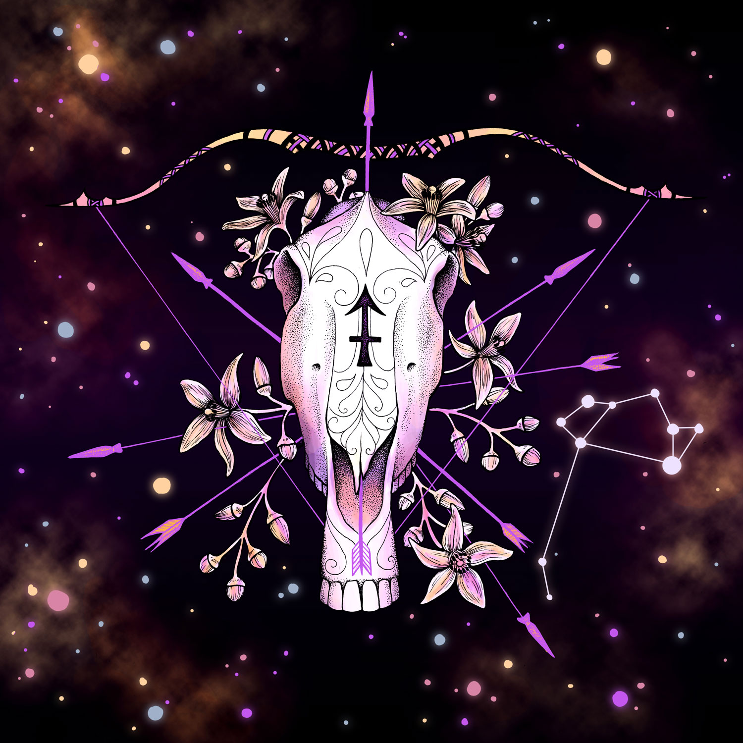 Sagittarius  Horse Skull, Bow, Arrows, and Nightshade