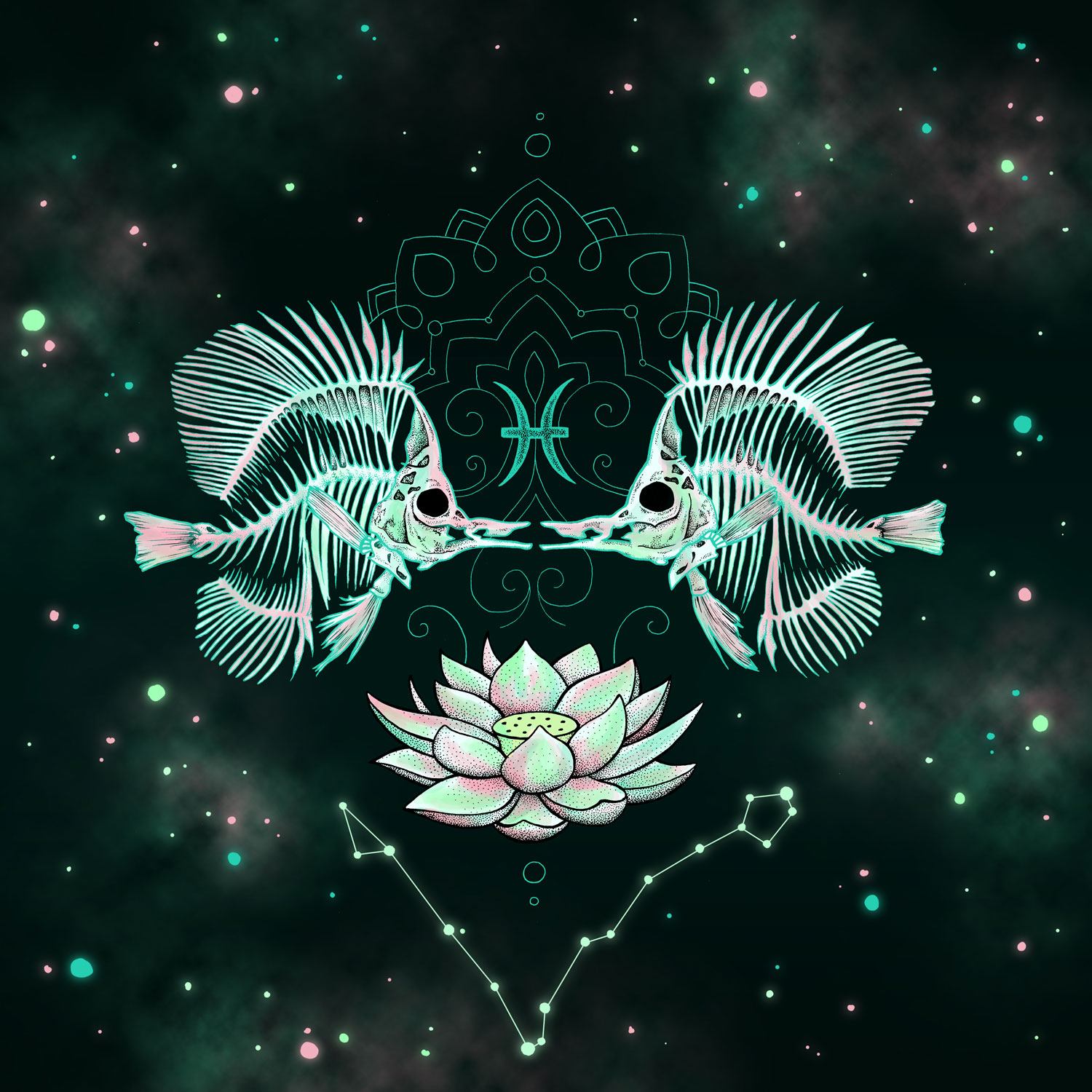 Pisces  Fish Skeletons and Lotus